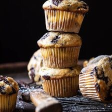 Cheesecake Stuffed Chocolate Chunk Banana Bread Muffins | halfbakedharvest.com #muffins #cheesecake #bananamuffin #dessert