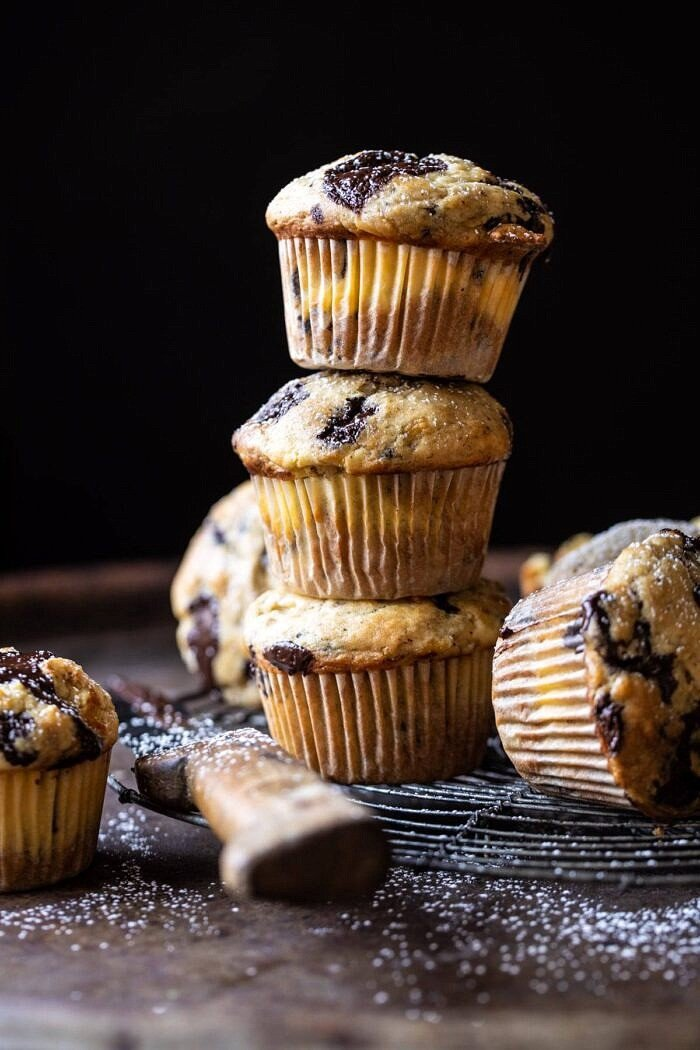 Cheesecake Stuffed Chocolate Chunk Banana Bread Muffins 3 stacked on top of each other