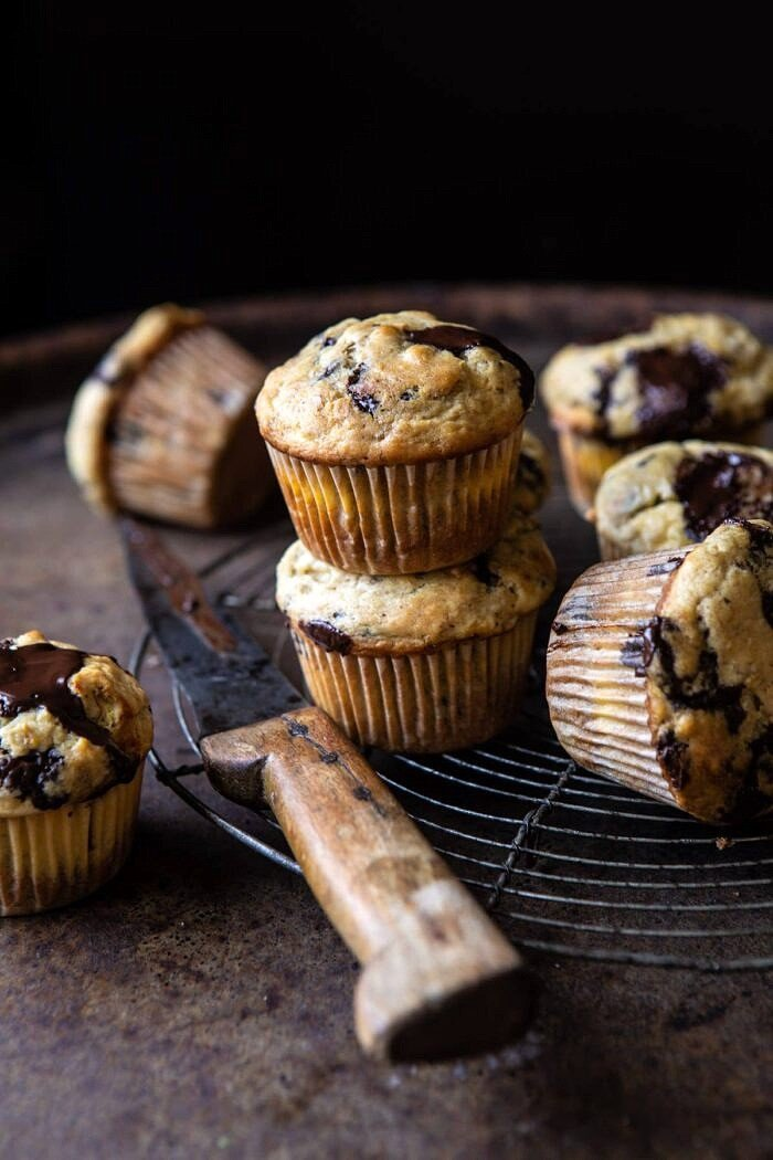side angled photo of Cheesecake Stuffed Chocolate Chunk Banana Bread Muffins