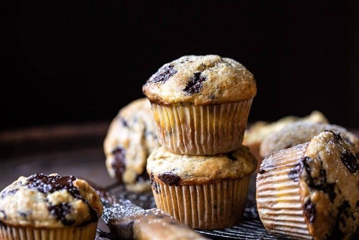 horizontal photo of Cheesecake Stuffed Chocolate Chunk Banana Bread Muffins