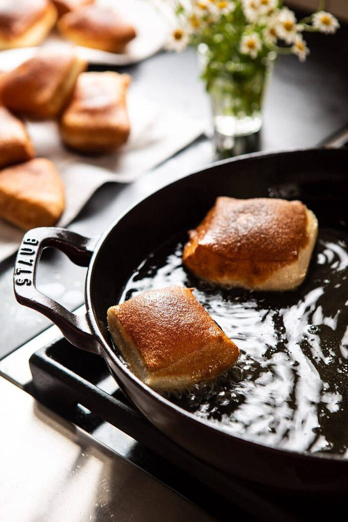 Beignets frying in oil