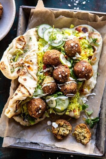 Falafel Naan Wraps with Golden Rice and Special Sauce.