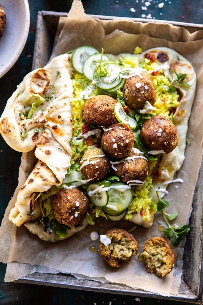 Falafel Naan Wraps with Golden Rice and Special Sauce | halfbakedharvest.com #falafel #wraps #middleeastern #vegan