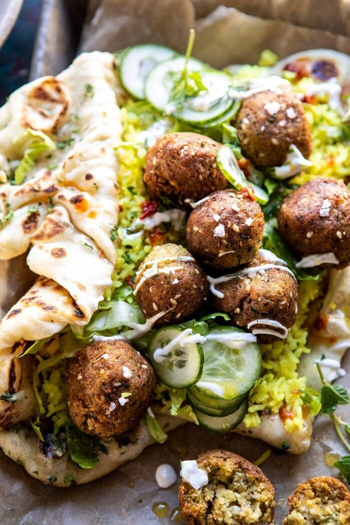 close up photo of Falafel Naan Wraps with Golden Rice and Special Sauce