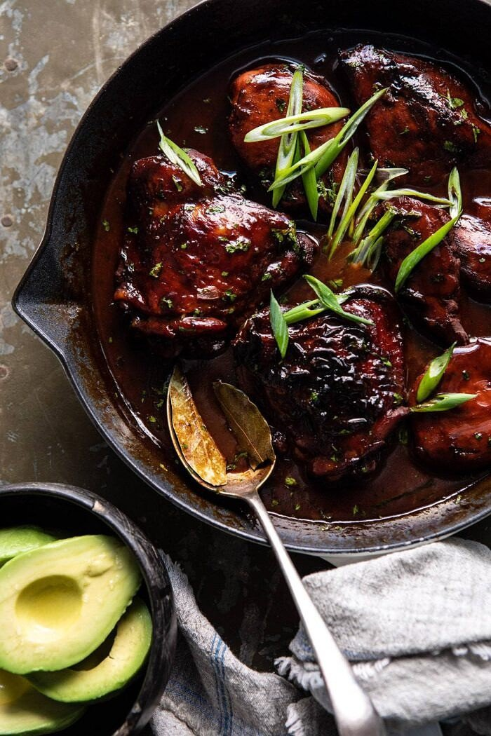 overhead close up photo of Filipino Coconut Adobo Chicken