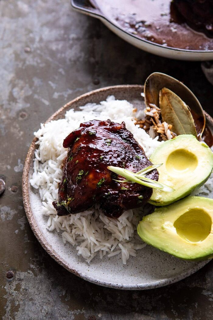 Filipino Coconut Adobo Chicken on plate with rice