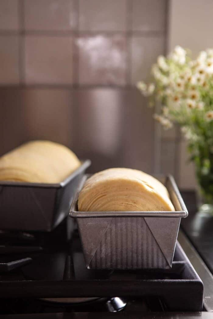 Flaky Honey Brioche Bread in bread pan before baking