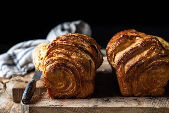horizontal photo of Flaky Honey Brioche Bread