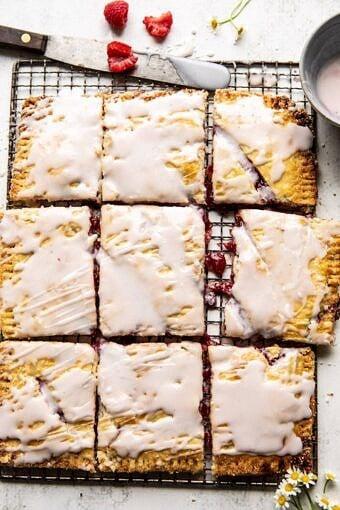 Giant Strawberries n' Cream Pop Tart | halfbakedharvest.com #brunch #pie #dessert #breakfast