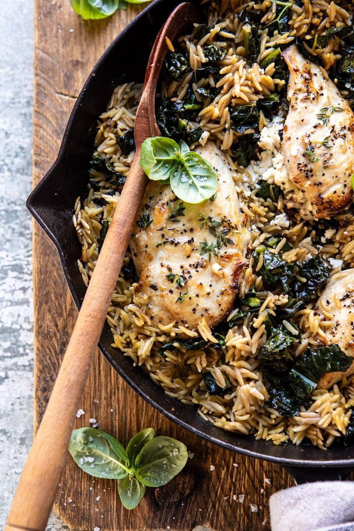 overhead close up photo of One Skillet Goat Cheese Stuffed Chicken and Orzo
