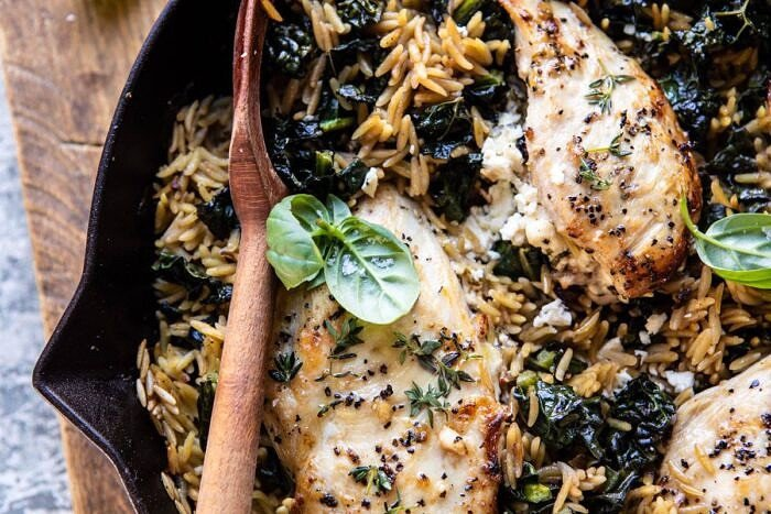 horizontal photo of One Skillet Goat Cheese Stuffed Chicken and Orzo