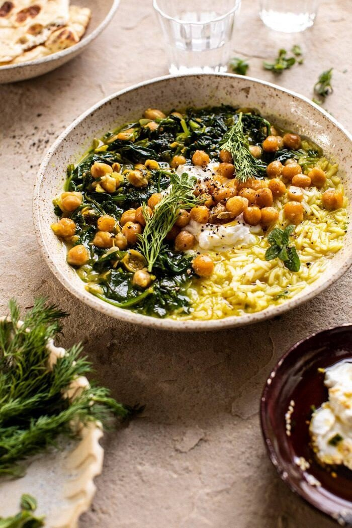 side angled photo of Persian Herb and Chickpea Stew with Rice