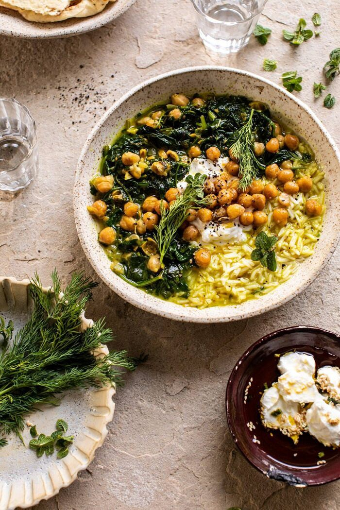 overhead photo of Persian Herb and Chickpea Stew with Rice