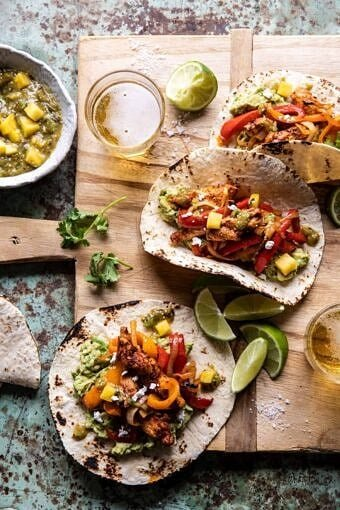 30 Minute Chicken Fajitas with Roasted Pineapple Salsa Verde | halfbakedharvest.com #chickenrecipes #mexicanrecipes #dinner #fajitas #healthyrecipes