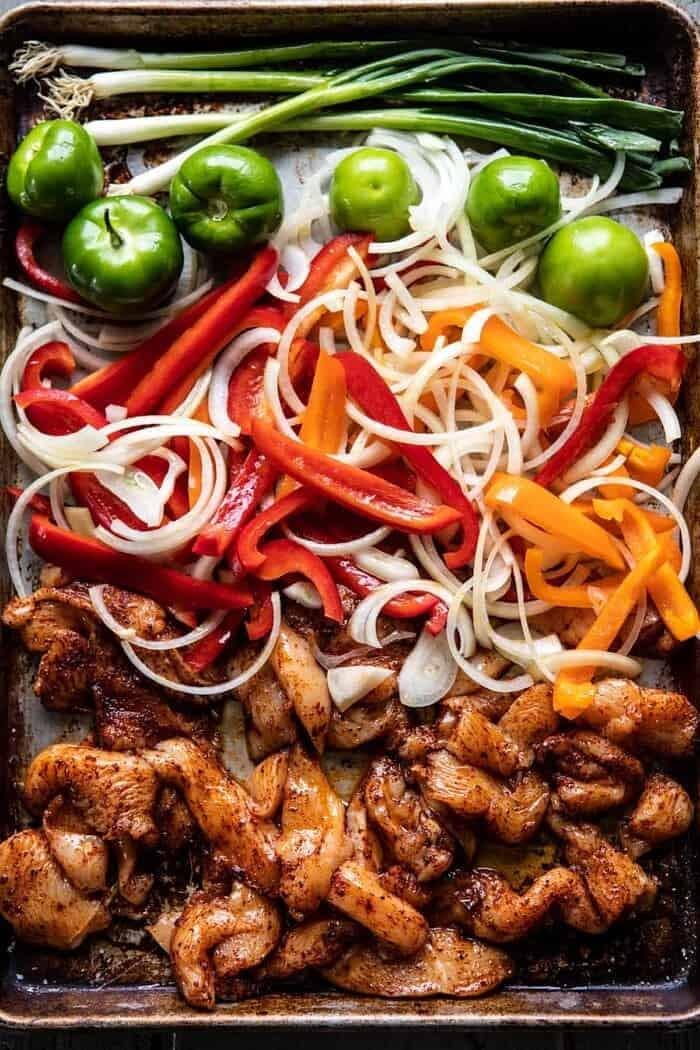 30 Minute Chicken Fajitas before baking on sheet pan