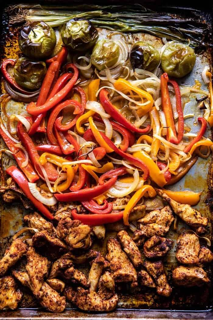overhead photo of 30 Minute Chicken Fajitas after baking on baking sheet