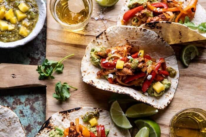 horizontal photo of 30 Minute Chicken Fajitas with Roasted Pineapple Salsa Verde