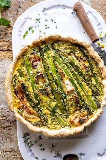 Asparagus and Brie Quiche | halfbakedharvest.com #quiche #brunch #springrecipes #easter