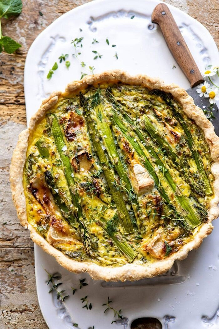 overhead photo of Asparagus and Brie Quiche