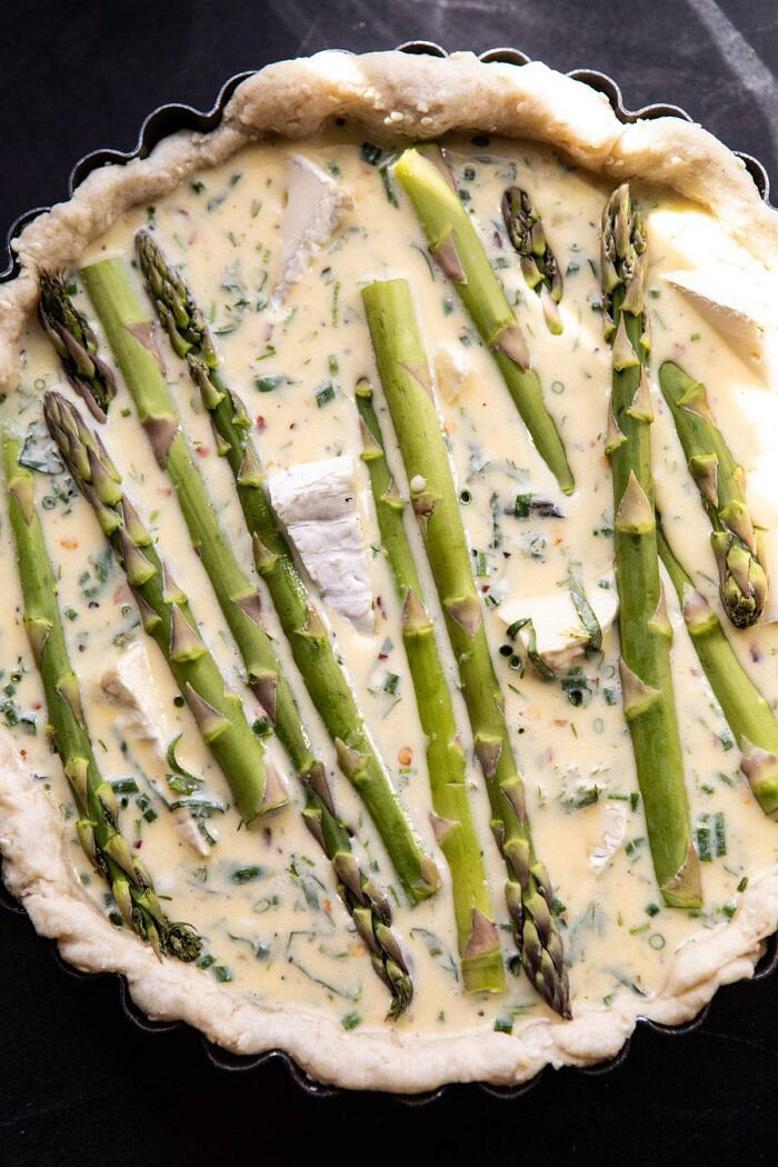 overhead photo of Asparagus and Brie Quiche before baking