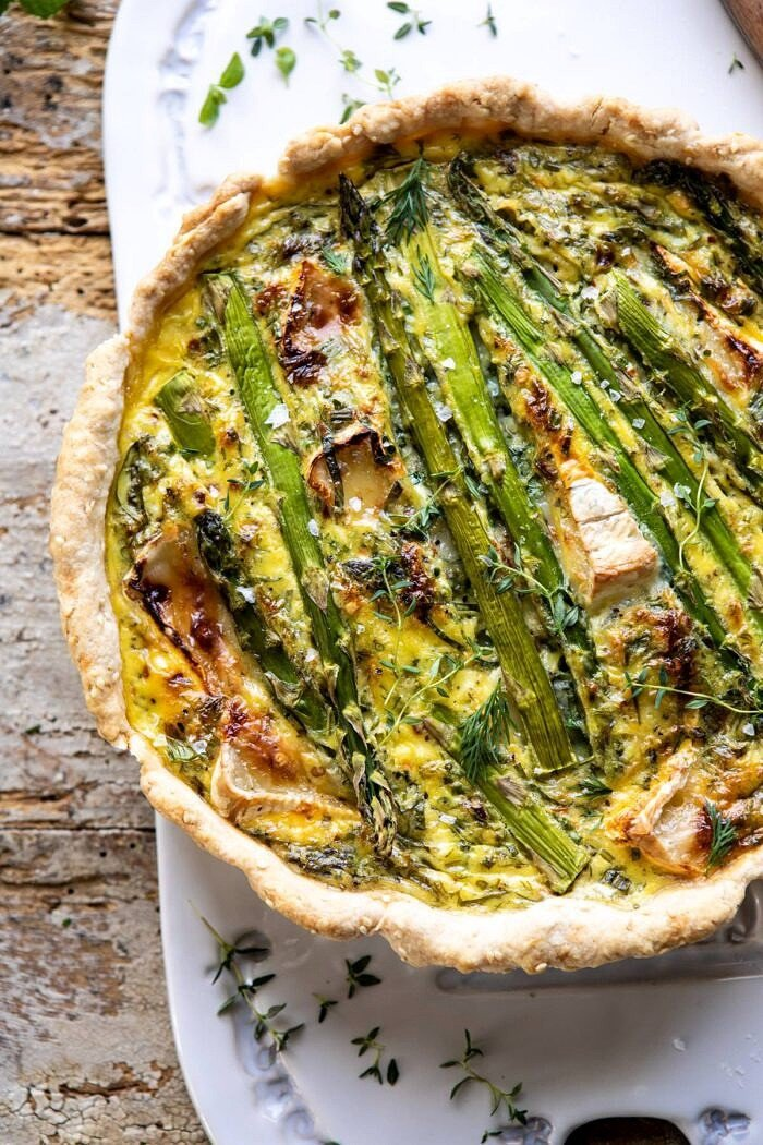overhead close up photo of Asparagus and Brie Quiche