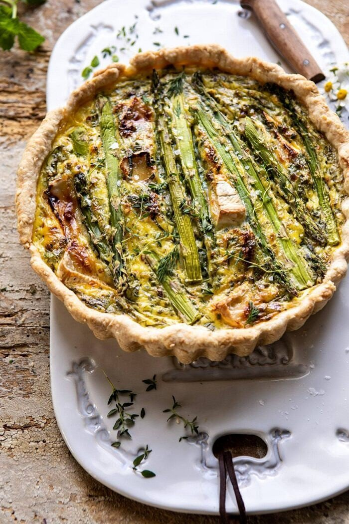 side angled photo of Asparagus and Brie Quiche