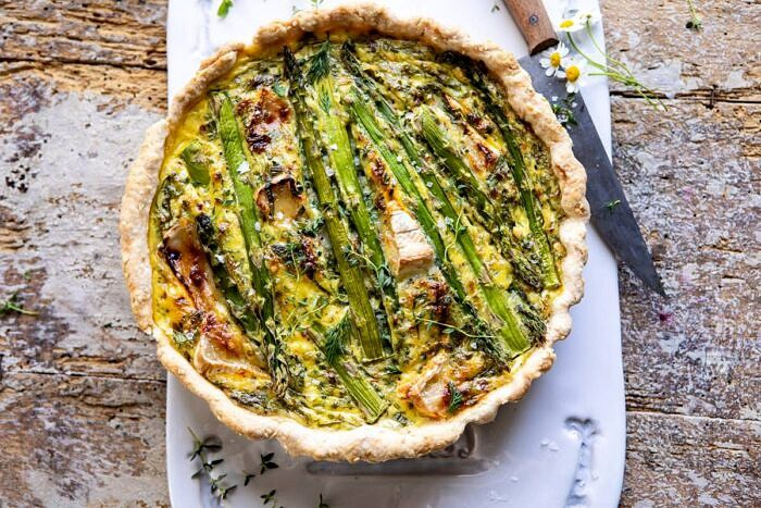 horizontal photo of Asparagus and Brie Quiche