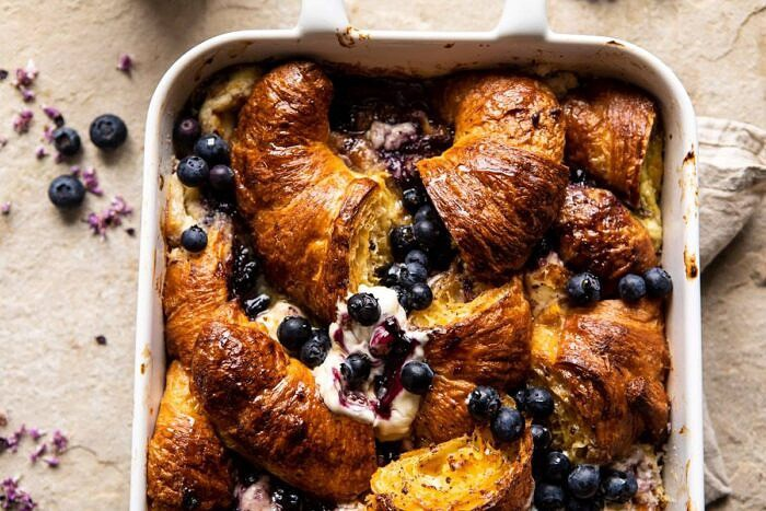 horizontal photo of Berry and Cream Cheese Croissant French Toast Bake