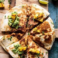 Cauliflower Al Pastor Quesadillas with Lime Smashed Avocado.