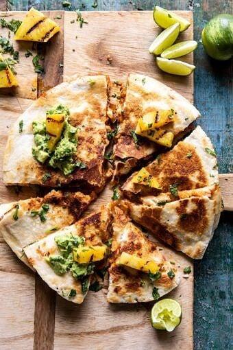 Cauliflower Al Pastor Quesadillas with Lime Smashed Avocado | halfbakedharvest.com #vegan #Mexican #cauliflower #pineapple #sandwich #easyrecipes #cheese