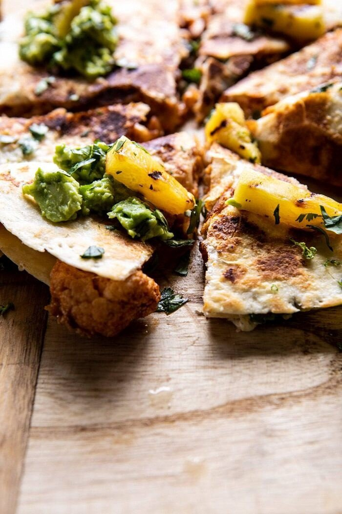 side angled photo of Cauliflower Al Pastor Quesadillas with Lime Smashed Avocado