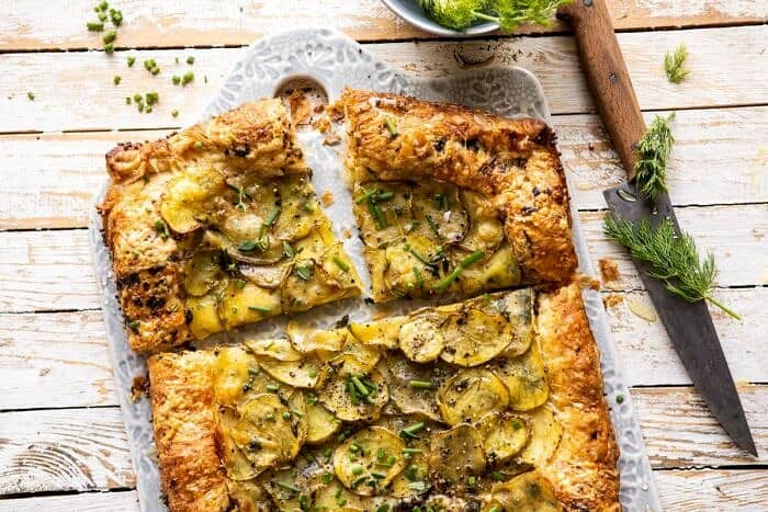 horizontal photo of Cheesy Potato Chive Galette