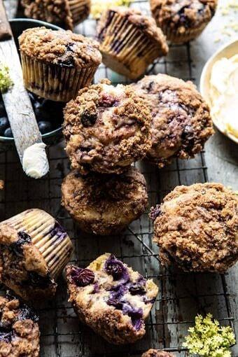 Cinnamon Crunch Blueberry Coffee Cake Muffins | halfbakedharvest.com #breakfast #brunch #snacks #easyrecipes #spring #summer #blueberrymuffins
