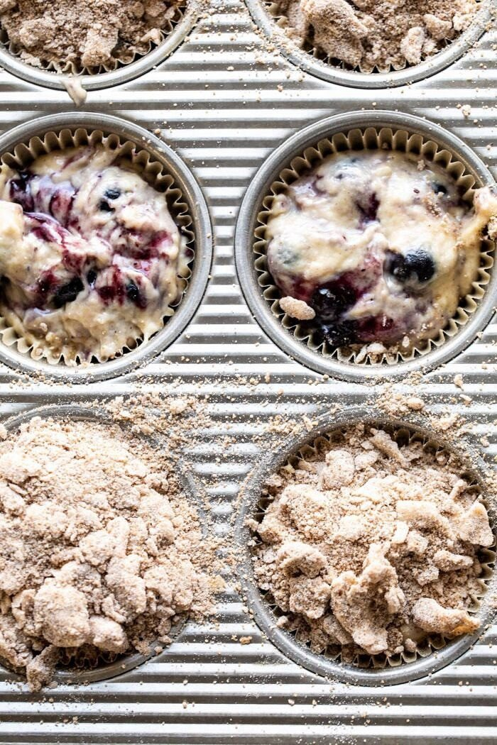 Blueberry Swirl Coffee Cake Muffins in muffin tin before baking
