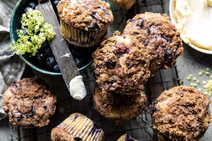 horizontal photo of Cinnamon swirl Blueberry Coffee Cake Muffins