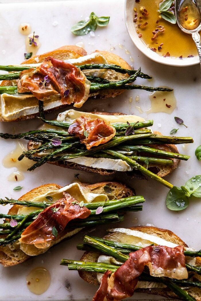overhead close up photo of Crispy Prosciutto, Asparagus, and Brie Toast
