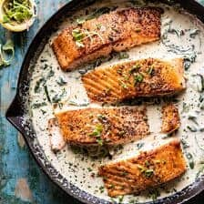 Garlic Butter Creamed Spinach Salmon.