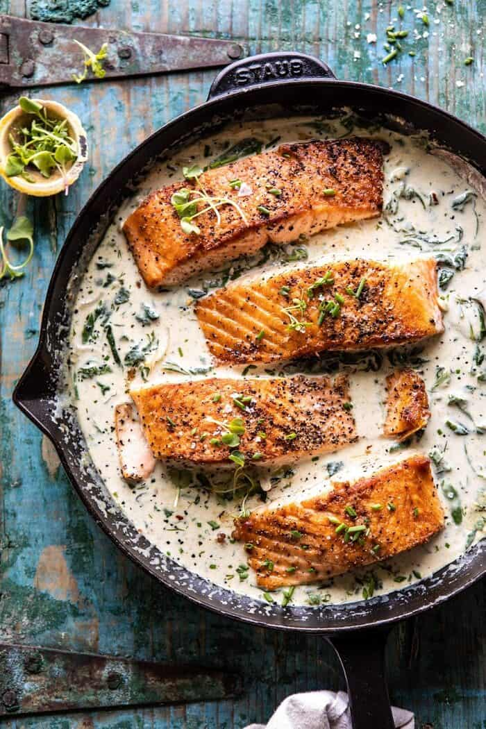 Garlic Butter Creamed Spinach Salmon | halfbakedharvest.com #salmon #easyrecipes #seafood #dinner