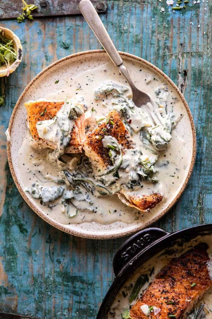 overhead photo of Garlic Butter Creamed Spinach Salmon plate
