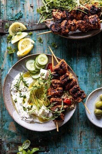 Greek Lemon Chicken Bowls with Sizzled Mint Goddess Sauce | halfbakedharvest.com #chicken #grilled #healthyrecipes #easyrecipes