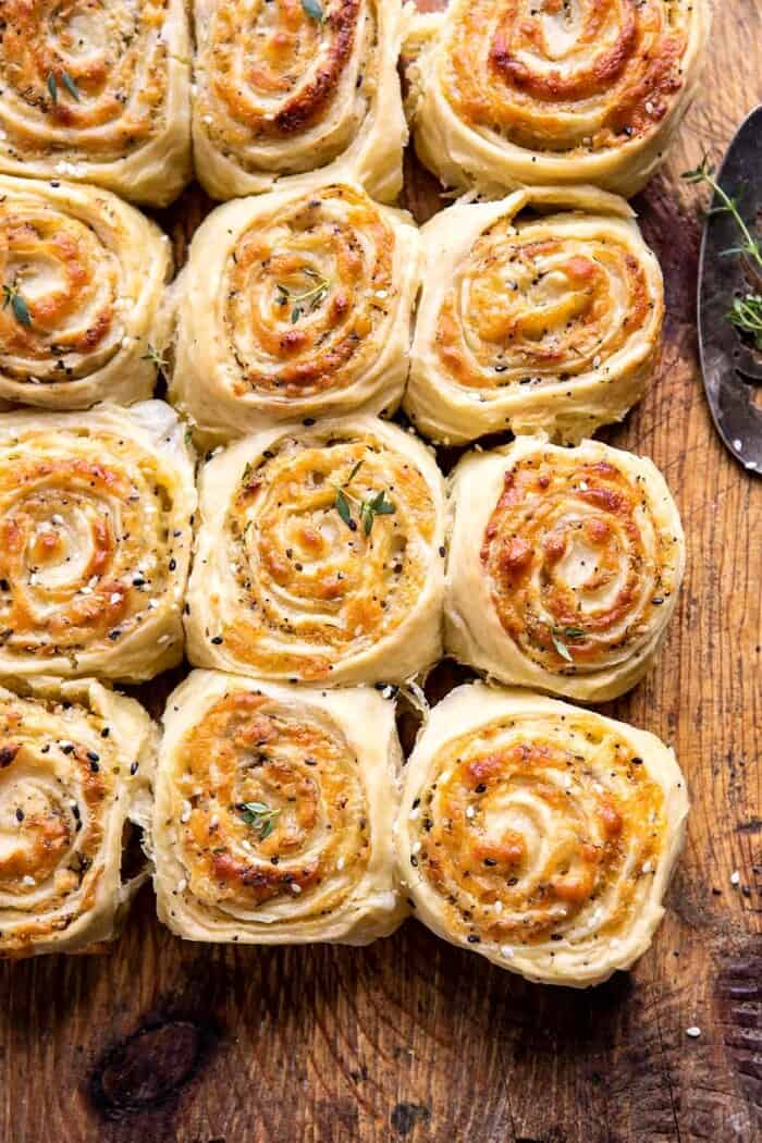 overhead photo Herby Everything Cheddar Swirl Buns