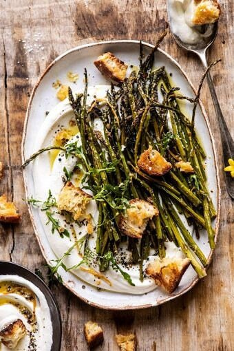 Sesame Roasted Asparagus with Whipped Feta | halfbakedharvest.com #asparagus #springrecipes #healthyrecipes #sidedish #easter
