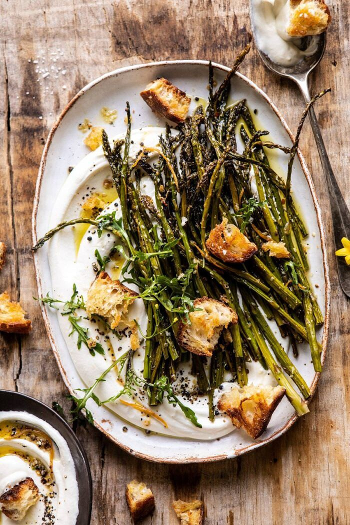 overhead photo of Sesame Roasted Asparagus with Whipped Feta