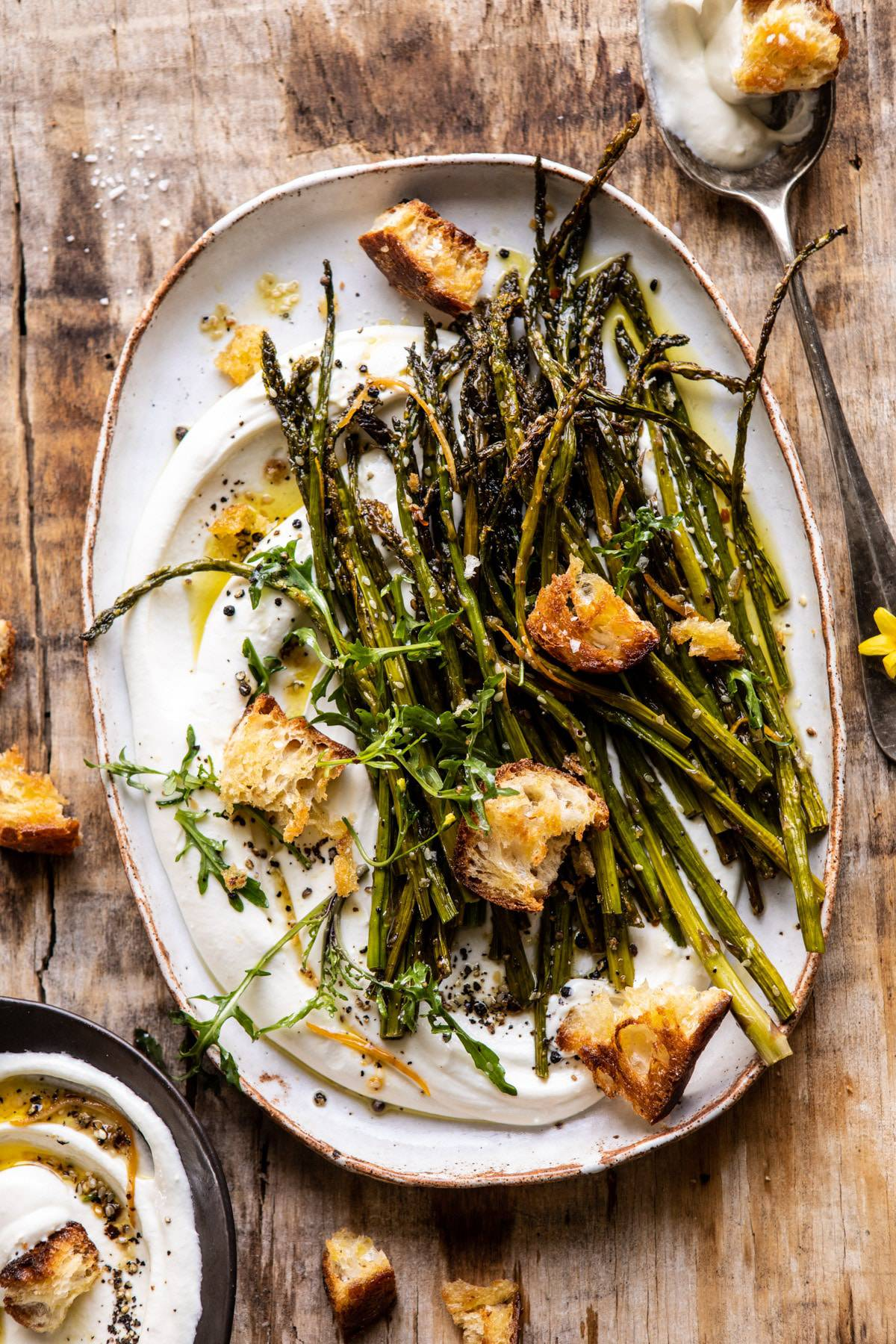 Sesame Roasted Asparagus With Whipped Feta Half Baked Harvest