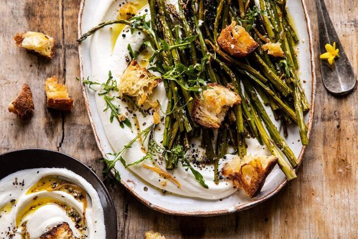 horizontal photo of Sesame Roasted Asparagus with Whipped Feta