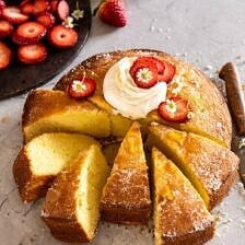 Strawberry Chamomile Olive Oil Cake with Honeyed Ricotta.