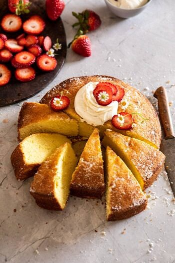 Strawberry Chamomile Olive Oil Cake with Honeyed Ricotta   halfbakedharvest.com #cake #dessert #springrecipes #Easter #strawberry