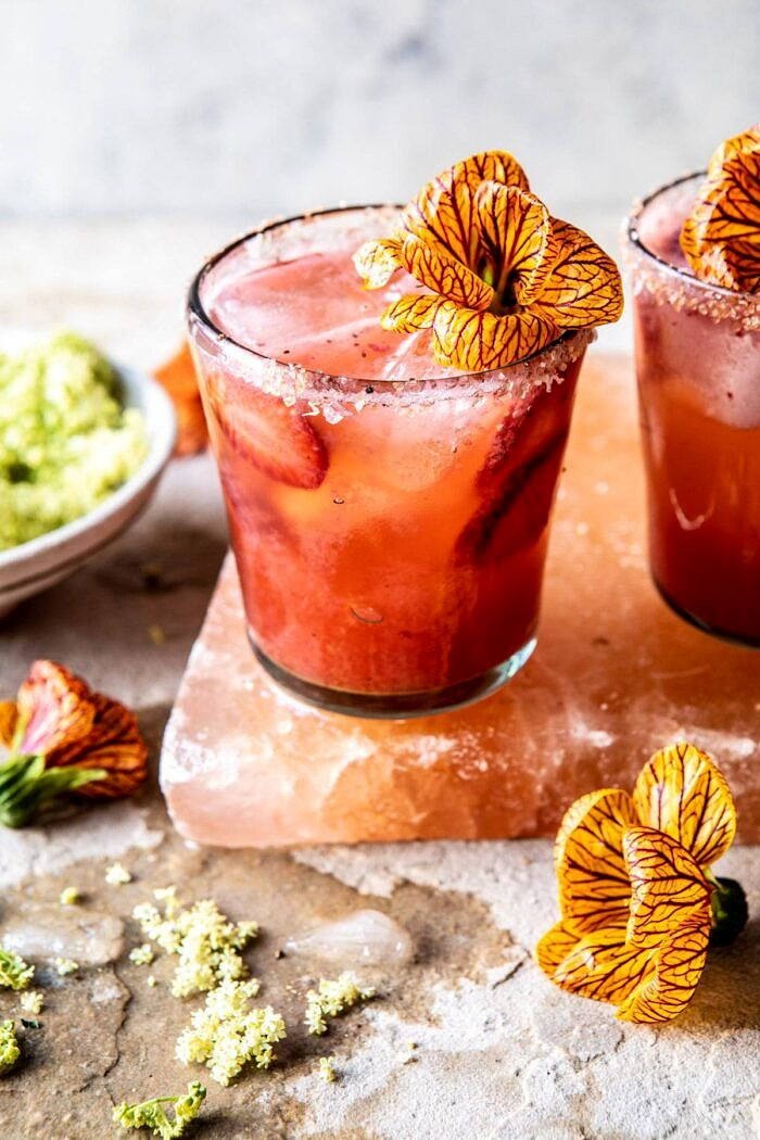 head on photo of Strawberry Hibiscus Ginger Margarita