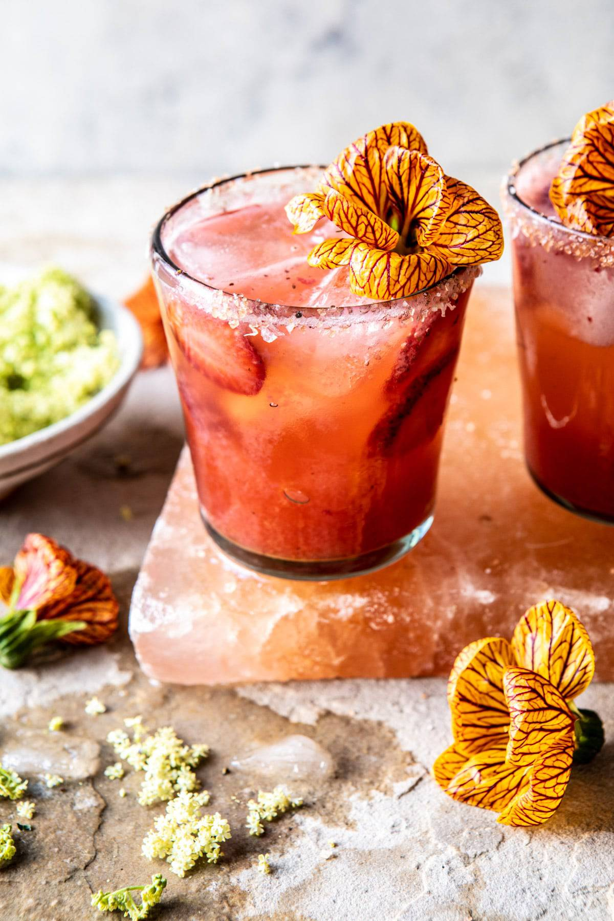 Strawberry Hibiscus Ginger Margarita | halfbakedharvest.com #cocktail #margarita #tequila #drinks