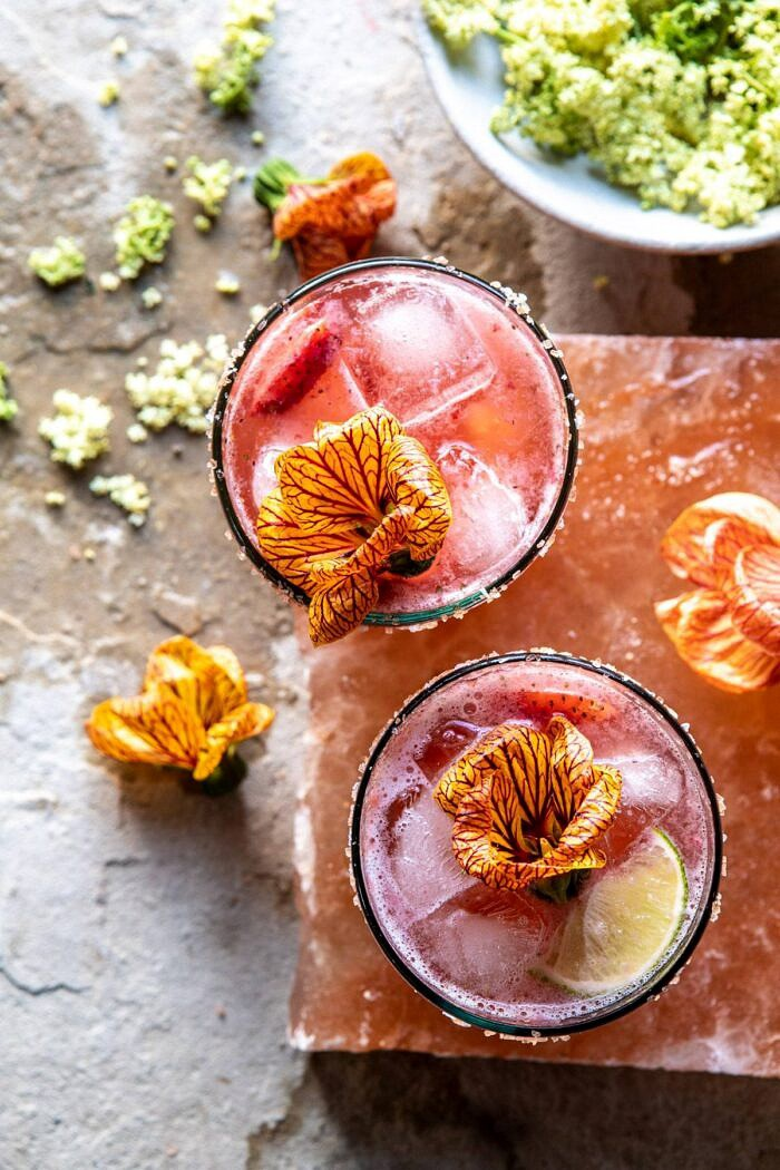 overhead photo of Strawberry Hibiscus Ginger Margarita